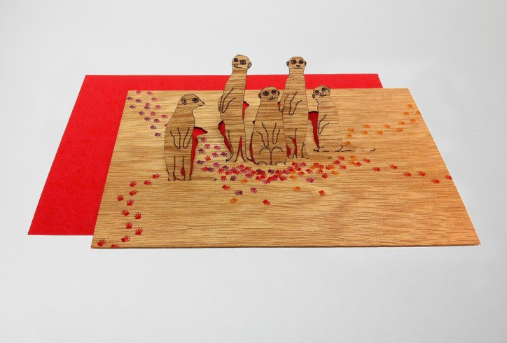 Meerkats - Wooden Greeting Card with Pop Up Motif