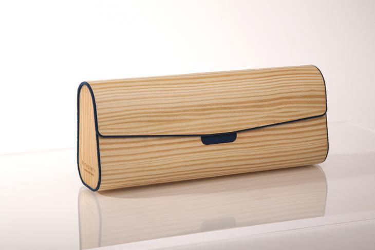Mäppchen aus Holz Kiefer Dunkelblau