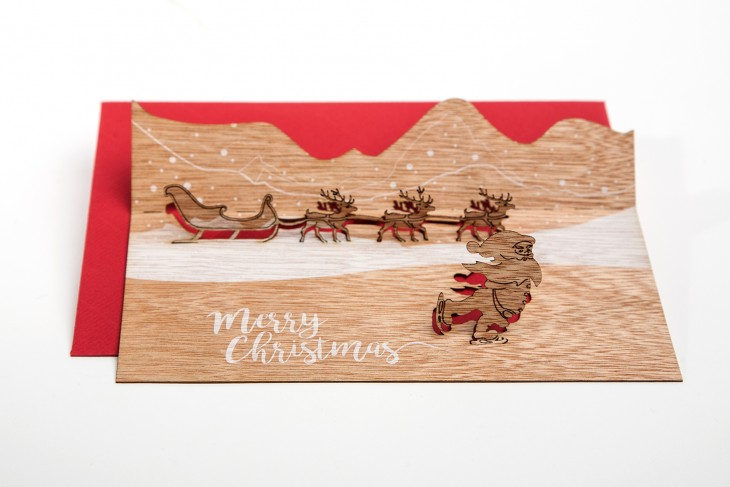 Santa, Merry Christmas - Wooden Greeting Card with PopUp-Motif