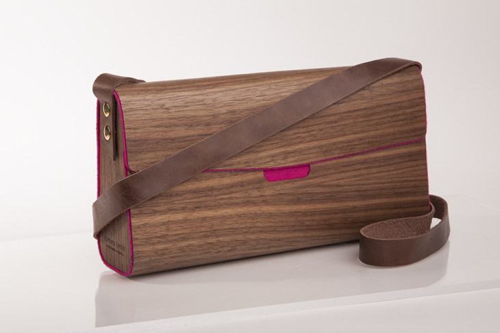 Wooden Handbag Nut Pink