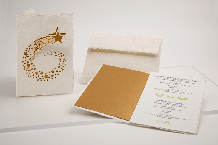 Sternschnuppe - Klappkarte aus Büttenpapier