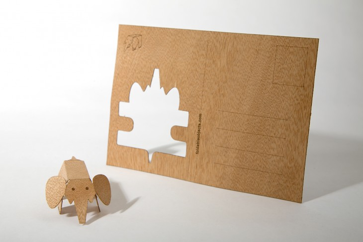 Elephant - Wooden Postcard