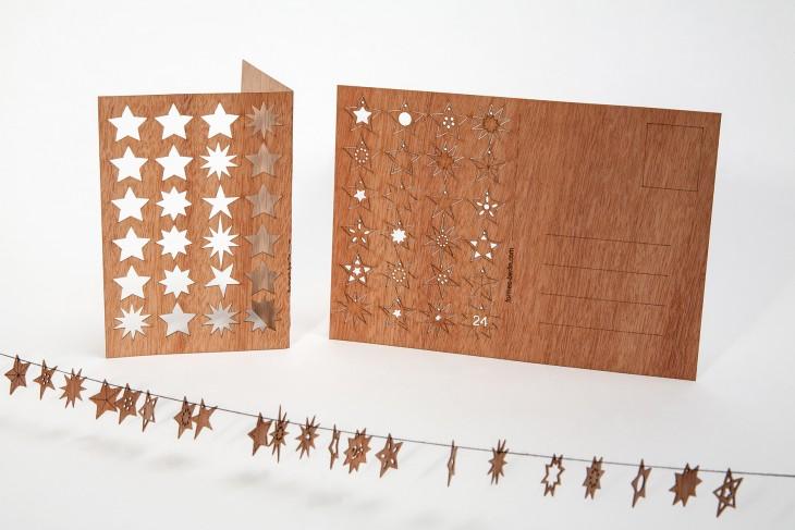 24 Sterne - Holzpostkarte