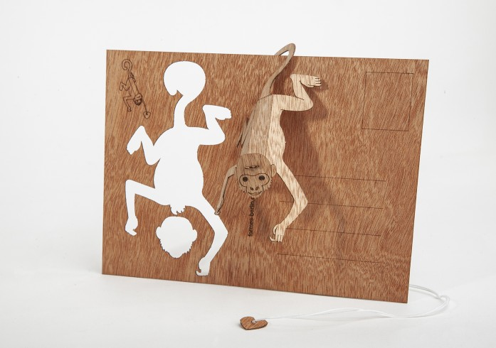 Monkey - Wooden Postcard