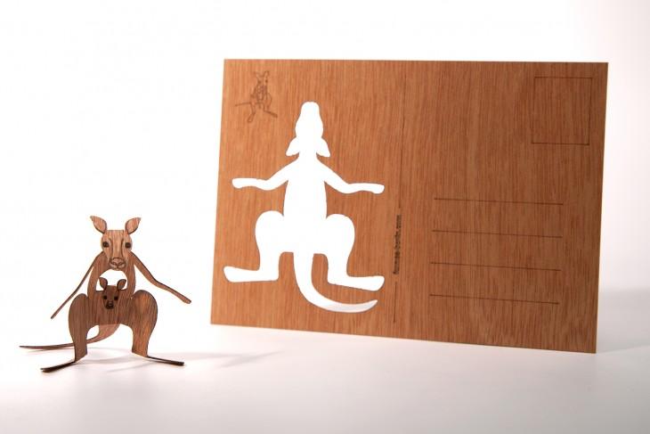 Känguru - Holzpostkarte