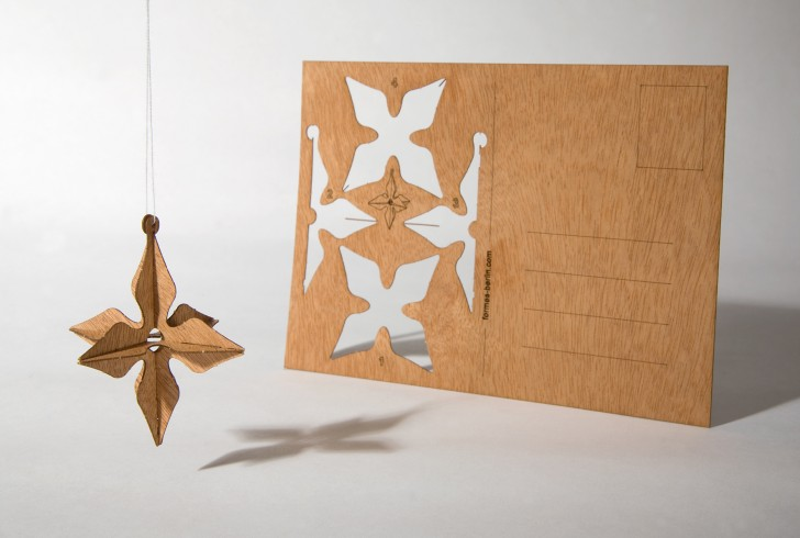 3D Star - Wooden Postcard
