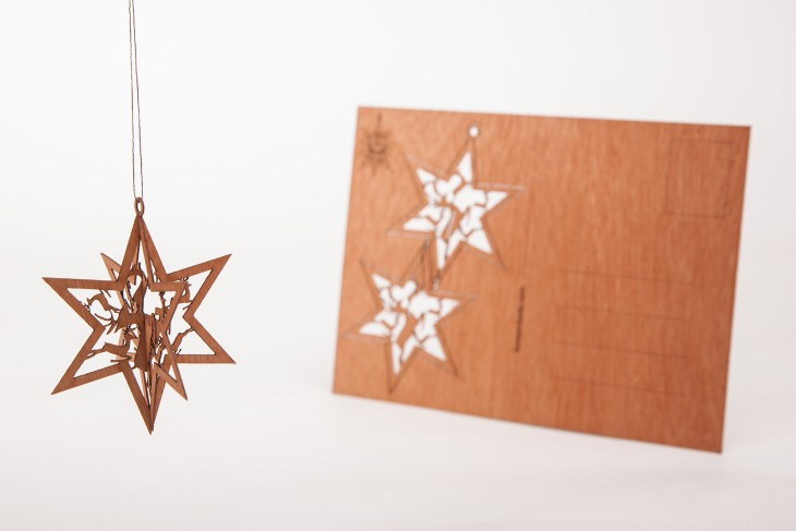 Star Reindeer - Wooden Postcard