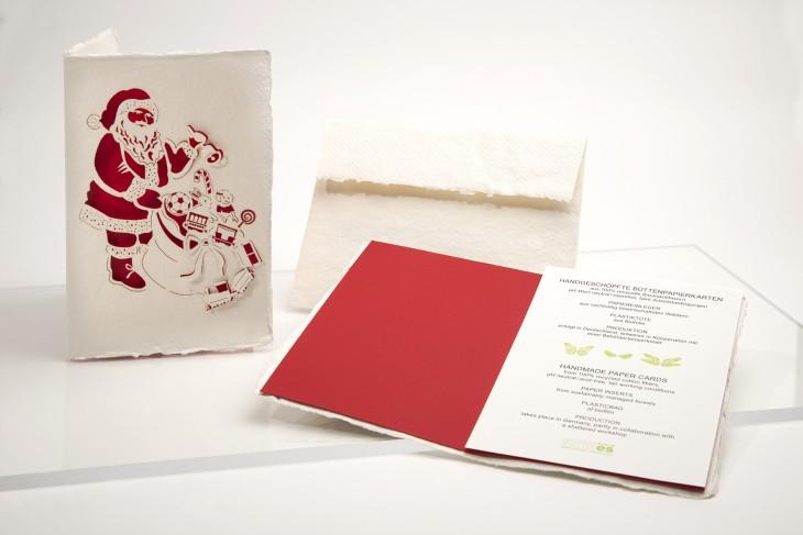 Santa - Klappkarte aus Büttenpapier