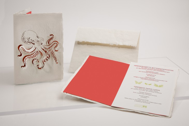 Tintenfisch - Klappkarte aus Büttenpapier