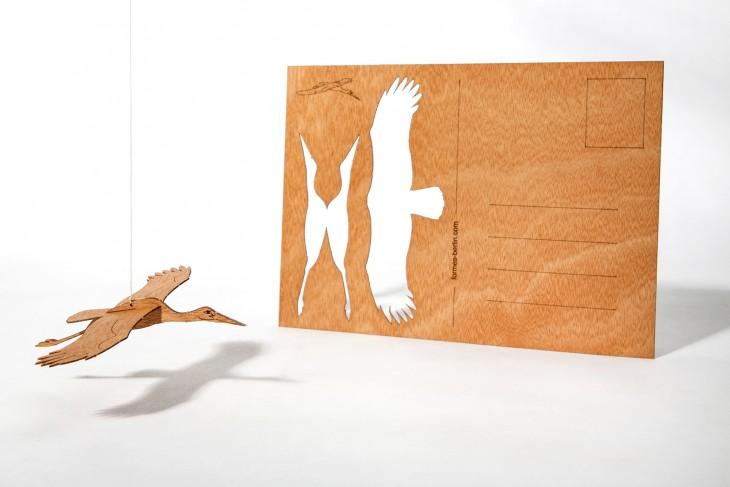 Stork - Wooden Postcard