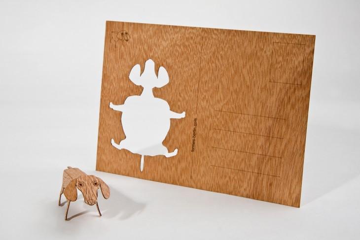 Dackel - Holzpostkarte