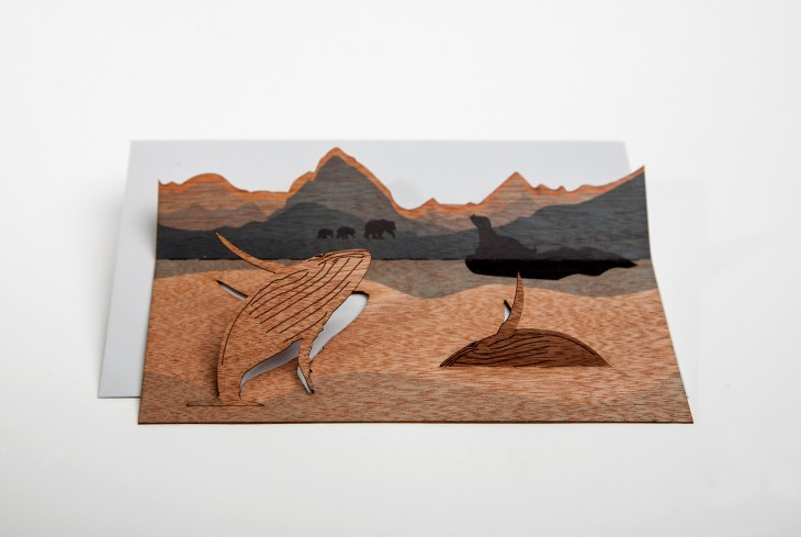 Whale - Wooden Greeting Card with PopUp-Motif
