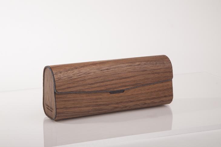 Brillenetui aus Holzfurnier - Nuss Grau