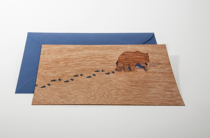 Bear - Wooden Greeting Card with Pop Up Motif