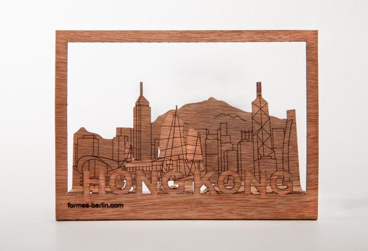 Hongkong - Holzpostkarte