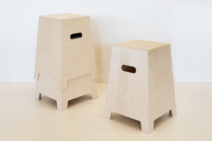 Stacking stool made of plywood