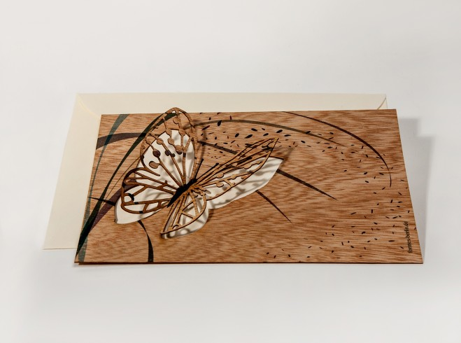 Butterfly - Wooden Greeting Card with Pop Up Motif