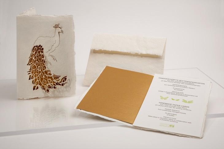 Pfau - Klappkarte aus Büttenpapier