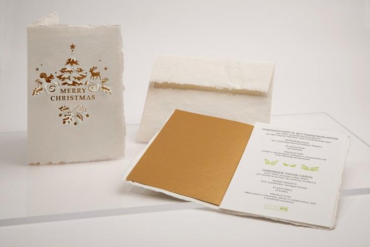 Schrift Merry Christmas - Klappkarte aus Büttenpapier