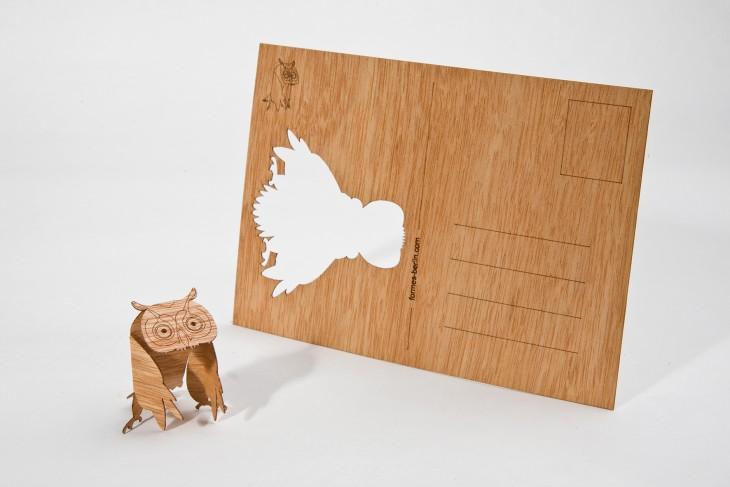 Eule - Holzpostkarte