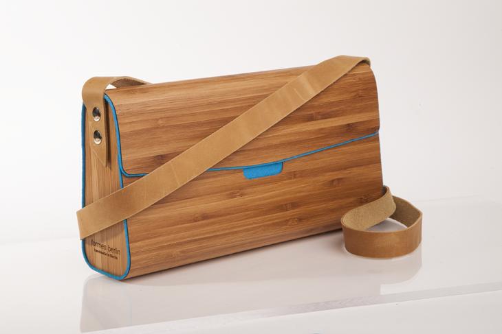 Wooden Handbag Bamboo Petrol
