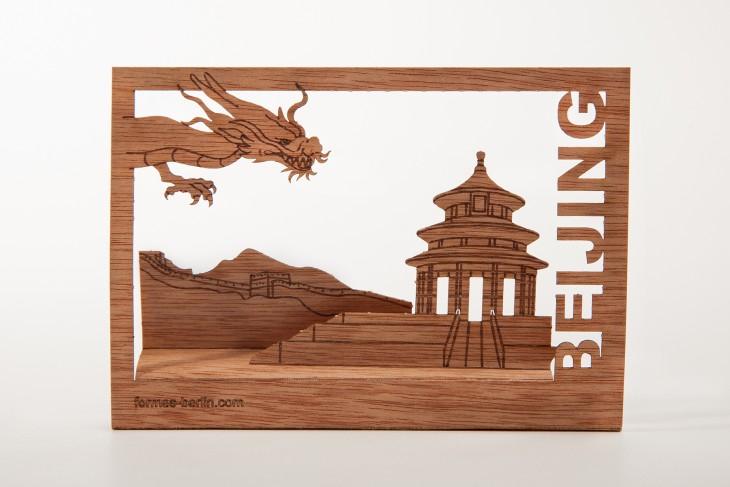 Beijing - Holzpostkarte