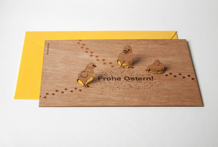 Frohe Ostern - Wooden Greeting Card with Pop Up Motif