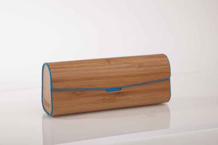 Brillenetui aus Holzfurnier - gedämpfter Bambus Petrol