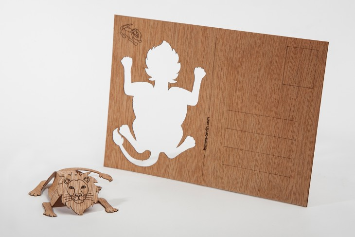 Lion - Wooden Postcard