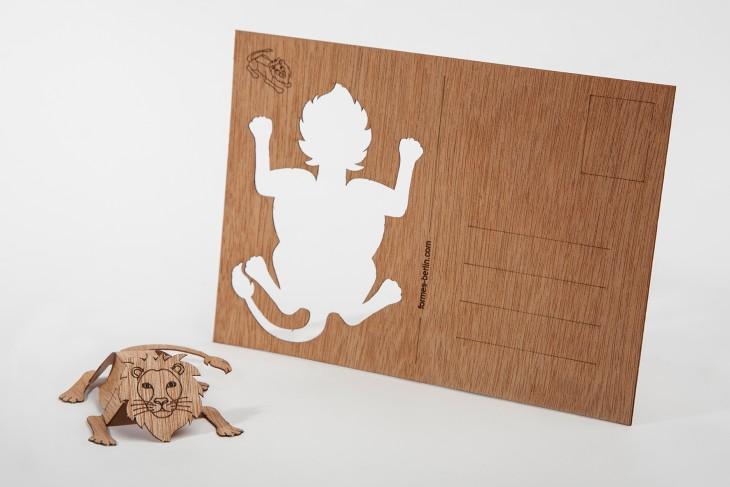 Löwe - Holzpostkarte