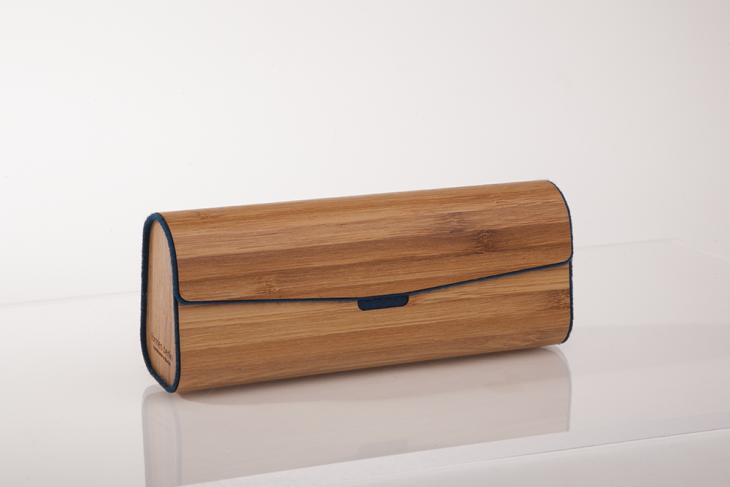 Brillenetui aus Holzfurnier - gedämpfter Bambus Dunkelblau