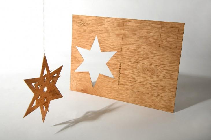 Faltstern - Holzpostkarte