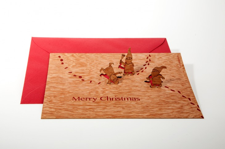 Imp, Merry Christmas - Wooden Greeting Card with PopUp-Motif