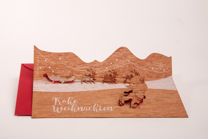 Santa, Frohe Weihnachten - Wooden Greeting Card with PopUp-Motif