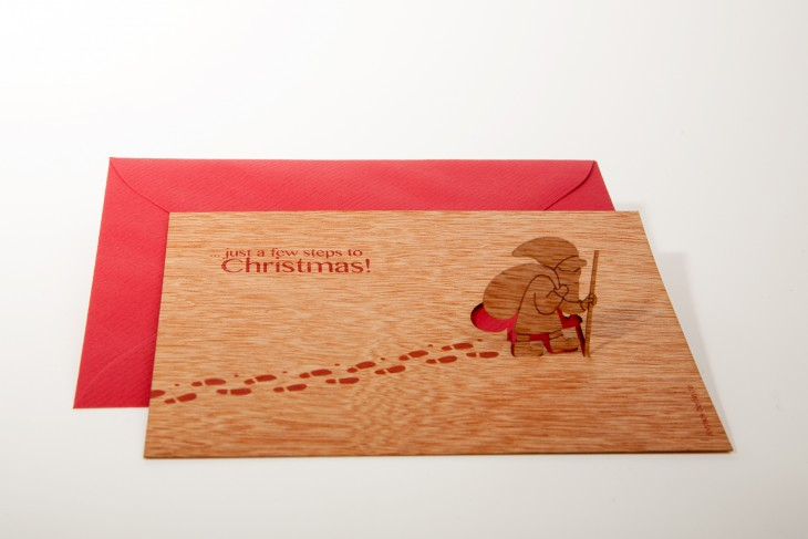 St Nicholas, Just a few steps to Christmas - Wooden Greeting Card with PopUp Motif