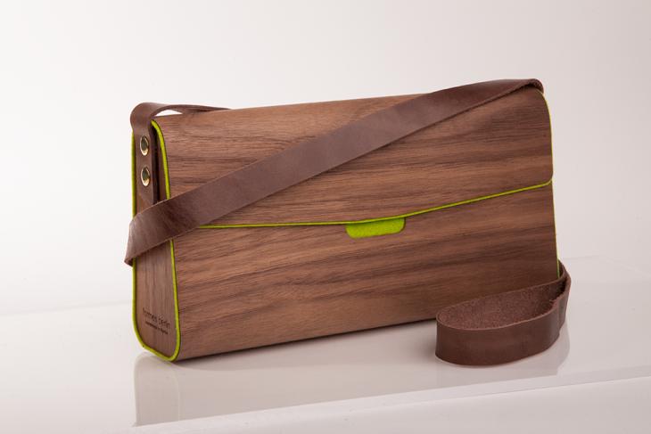 Wooden Handbag Nut Green
