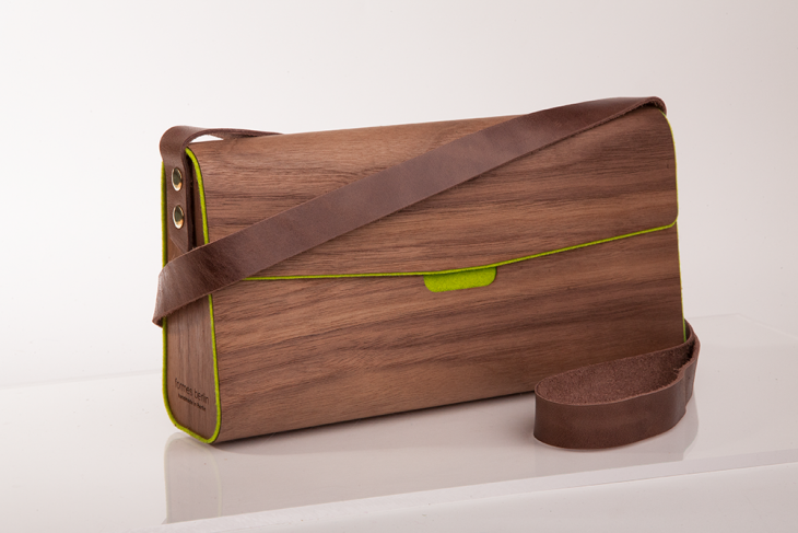 Handtasche aus Holz Nuss Grün