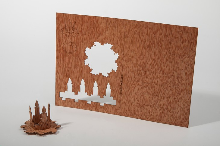 Adventskranz - Holzpostkarte