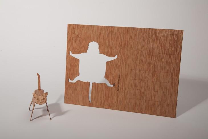 Katze - Holzpostkarte