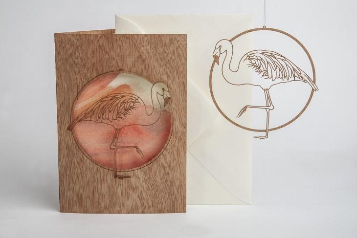 Flamingo - Wooden Greeting Card