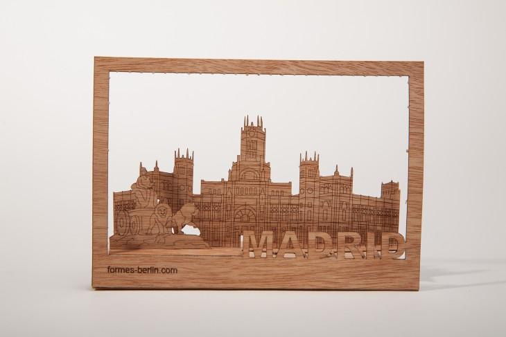 Madrid - Holzpostkarte