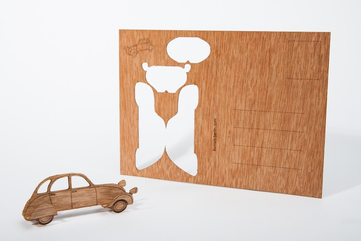 Car - Wooden Postcard
