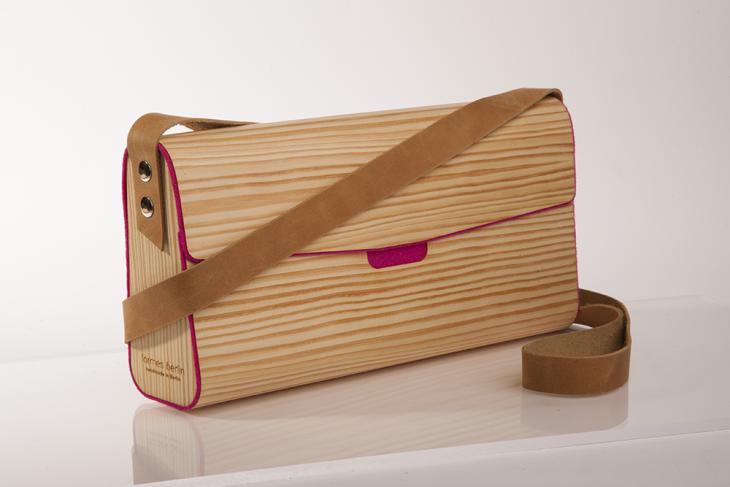 Handtasche aus Holz Kiefer Pink