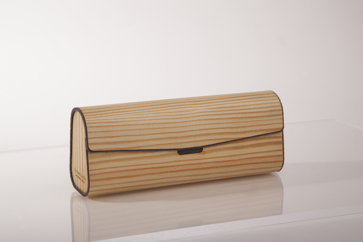 Brillenetui aus Holzfurnier - Kiefer Grau