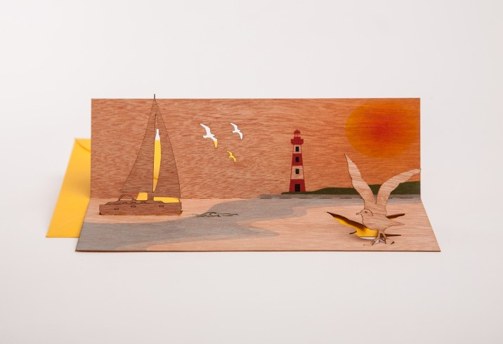 Sailboat - Wooden Greeting Card with PopUp-Motif