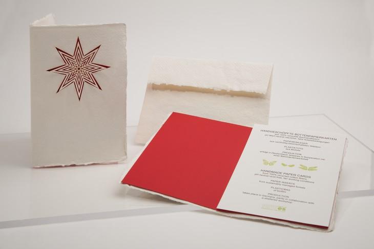 Weihnachtsstern - Klappkarte aus Büttenpapier