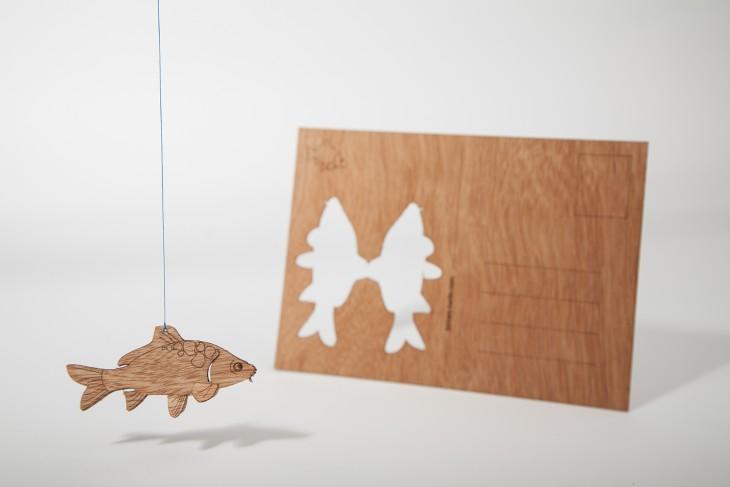 Carp - Wooden Postcard