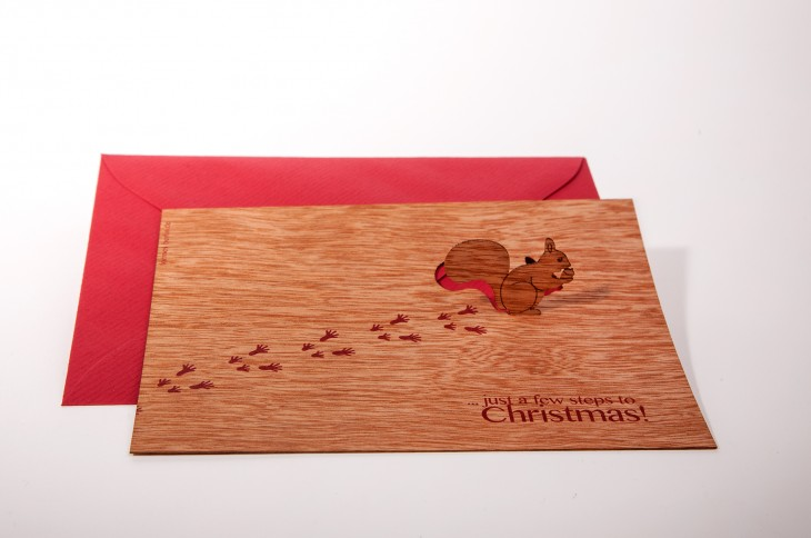 Squirrel, Just a few steps to Christmas - Wooden Greeting Card with Pop Up Motif