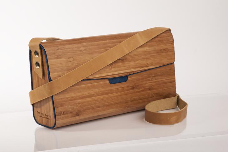Handtasche aus Holz Bambus Dunkelblau