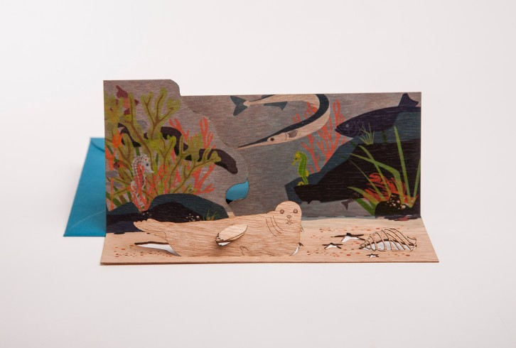 Seal - Wooden Greeting Card with PopUp Motif